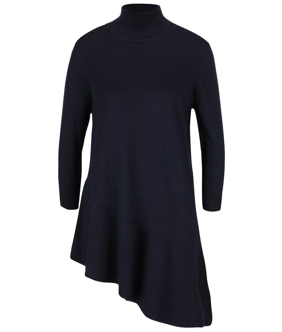 Tmavě modrý asymetrický svetr s 3/4 rukávem VILA Tin
