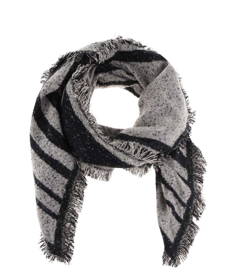 Černo-šedá šála s cípy Haily´s Linea