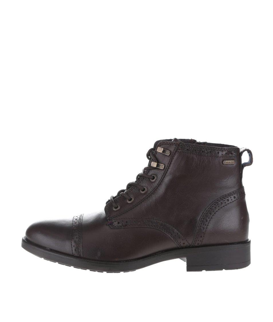 Tmavě hnědé pánské koženékotníkové boty Tommy Hilfiger