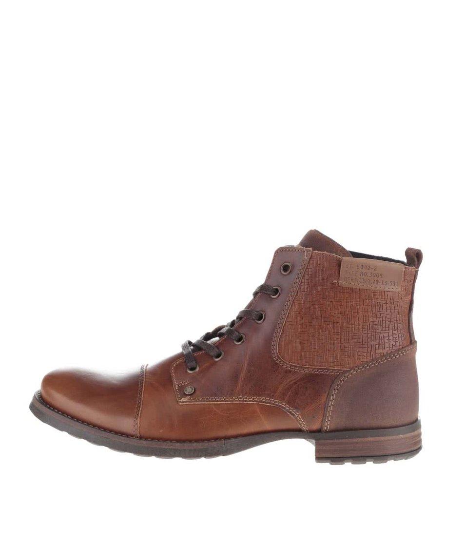 Hnědé pánské kotníkové boty se vzorem Bullboxer