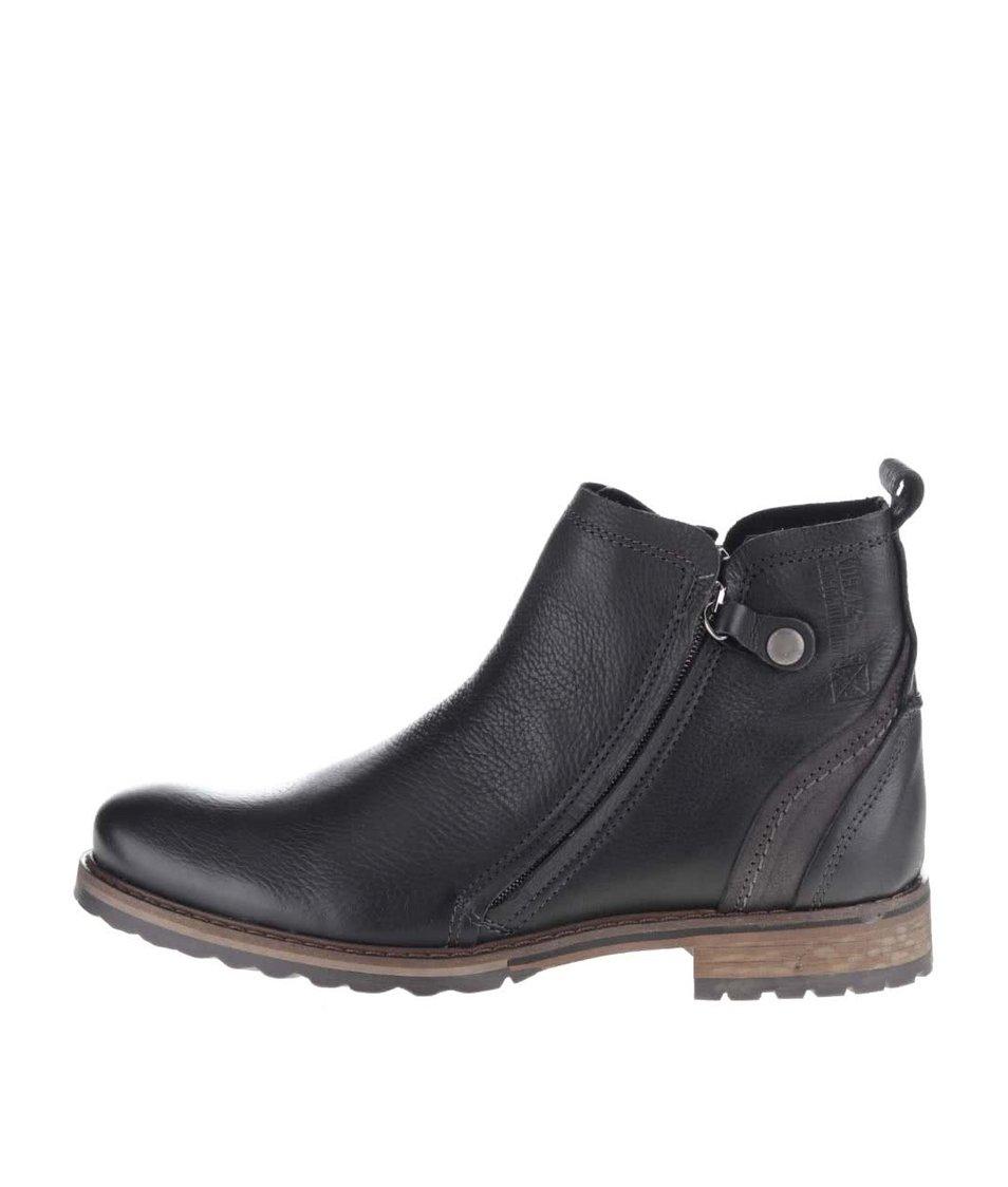 Černé pánské kožené kotníkové boty na zip Bullboxer