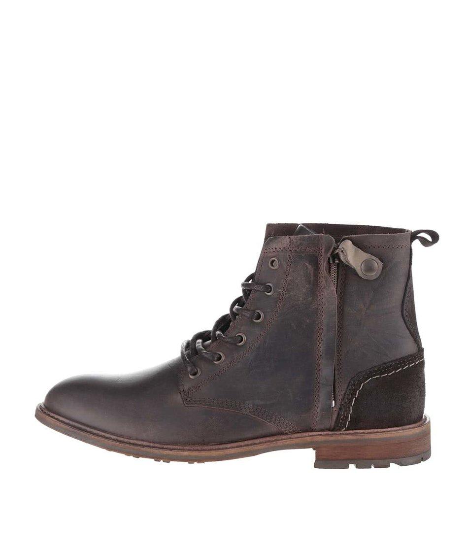 Tmavě hnědé pánské kožené boty se zipem Bullboxer