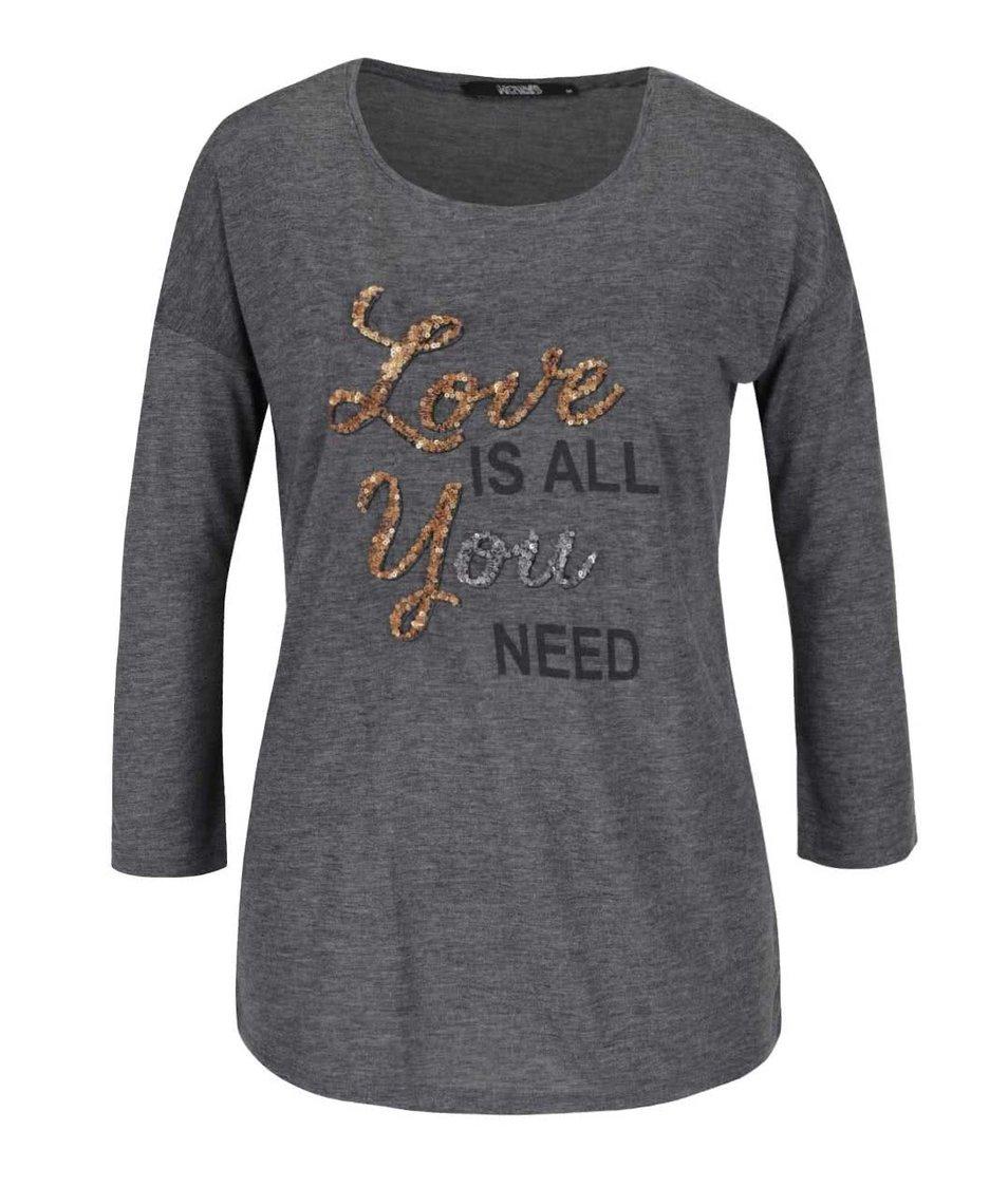 Šedé tričko s 3/4 rukávem a flitry Haily´s Need