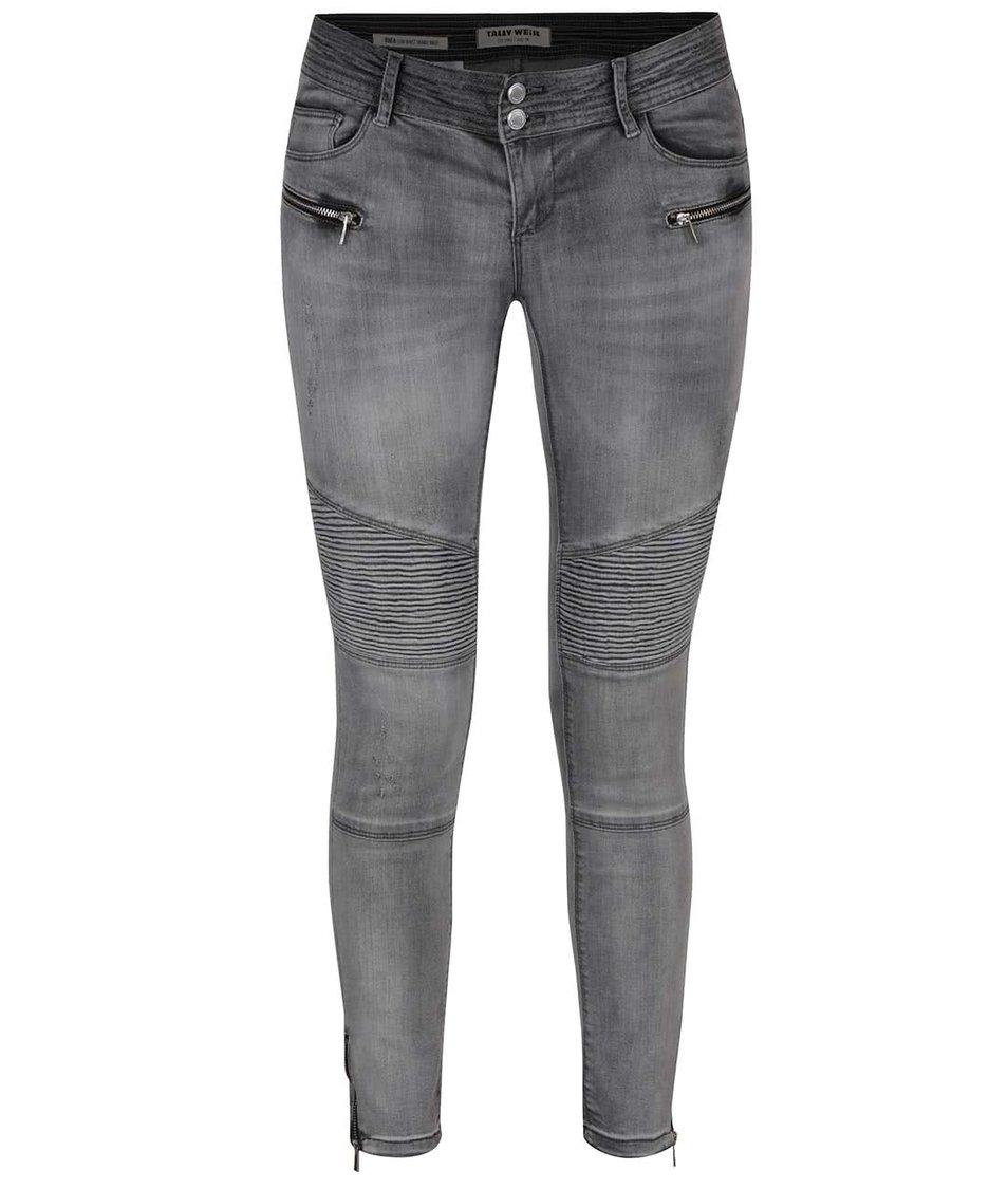 Šedé skinny džíny s ozdobnými zipy TALLY WEiJL