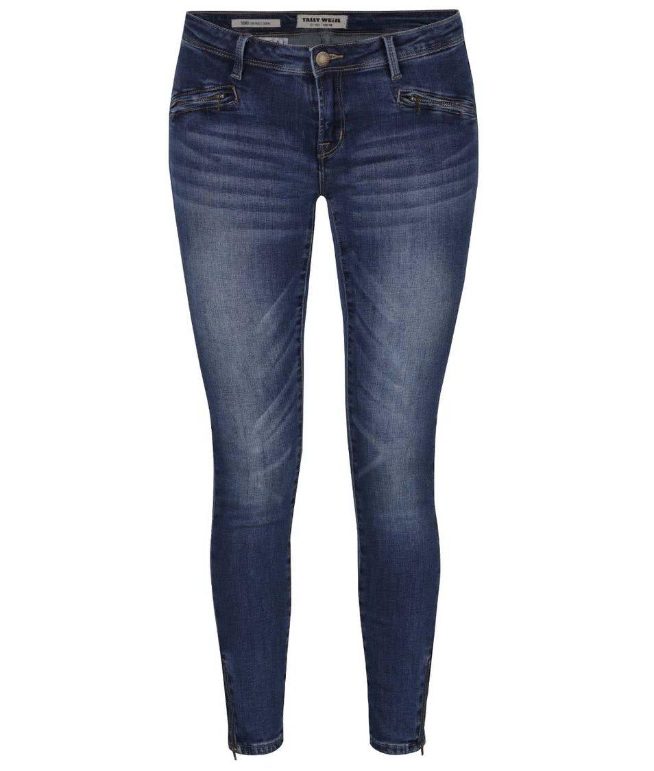Modré skinny džíny s ozdobnými zipy TALLY WEiJL