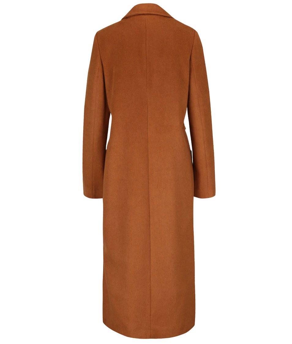 Hnědý dlouhý kabát s páskem, kapsami a rozparky Dorothy Perkins