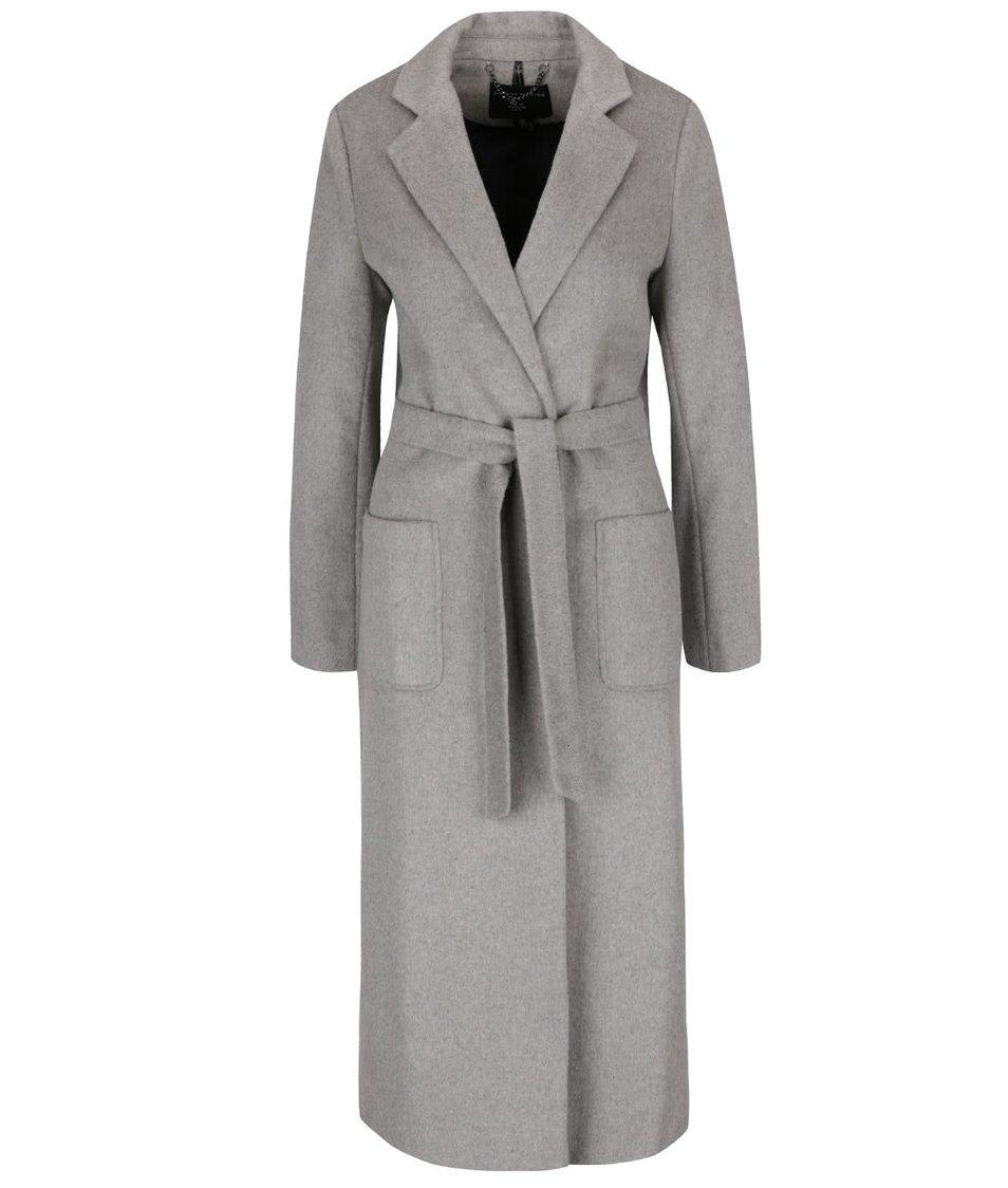 Šedý dlouhý kabát s páskem, kapsami a rozparky Dorothy Perkins