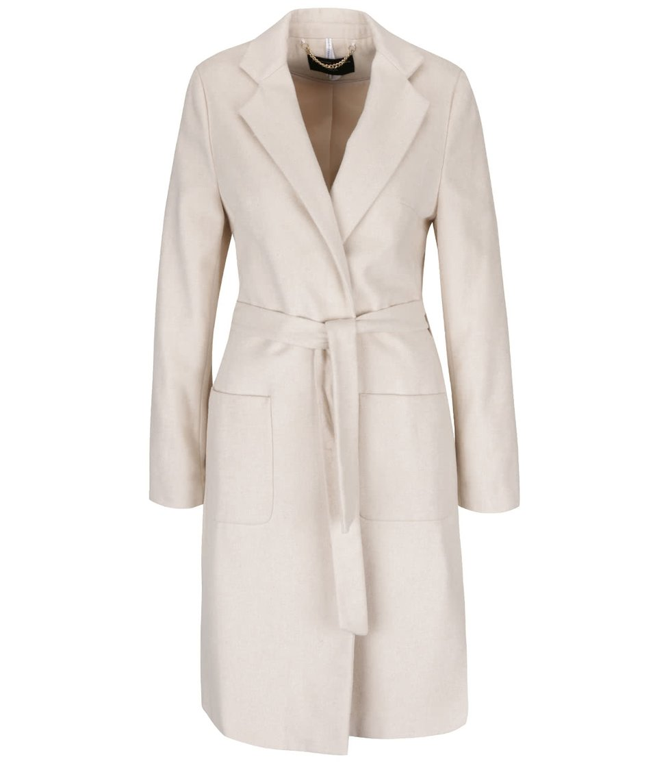Krémový kabát s páskem a kapsami Dorothy Perkins