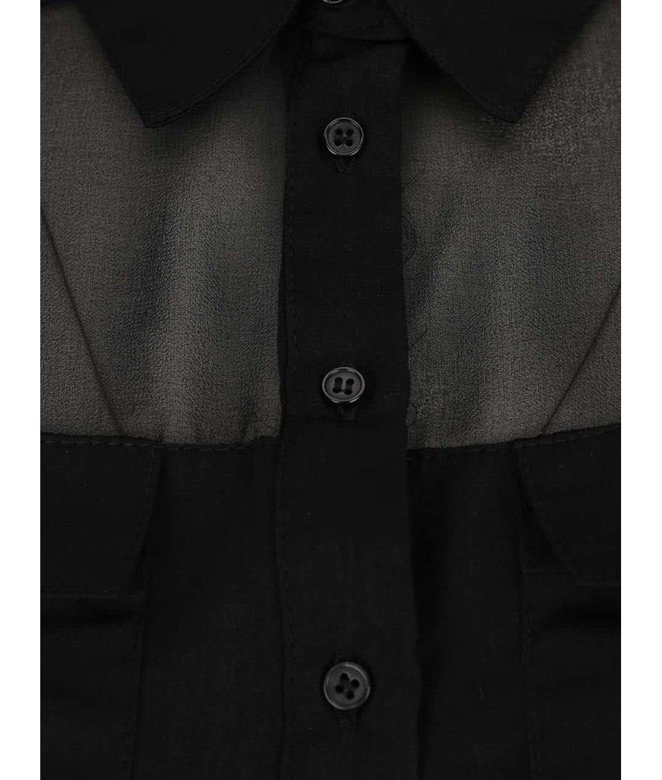 Černá průsvitná halenka s kapsami TALLY WEiJL