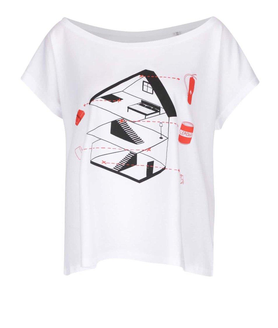 Bílé dámské tričko ZOOT Originál Sám doma plánek