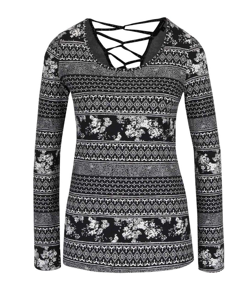 Krémovo-černé vzorované tričko s dlouhým rukávem TALLY WEiJL