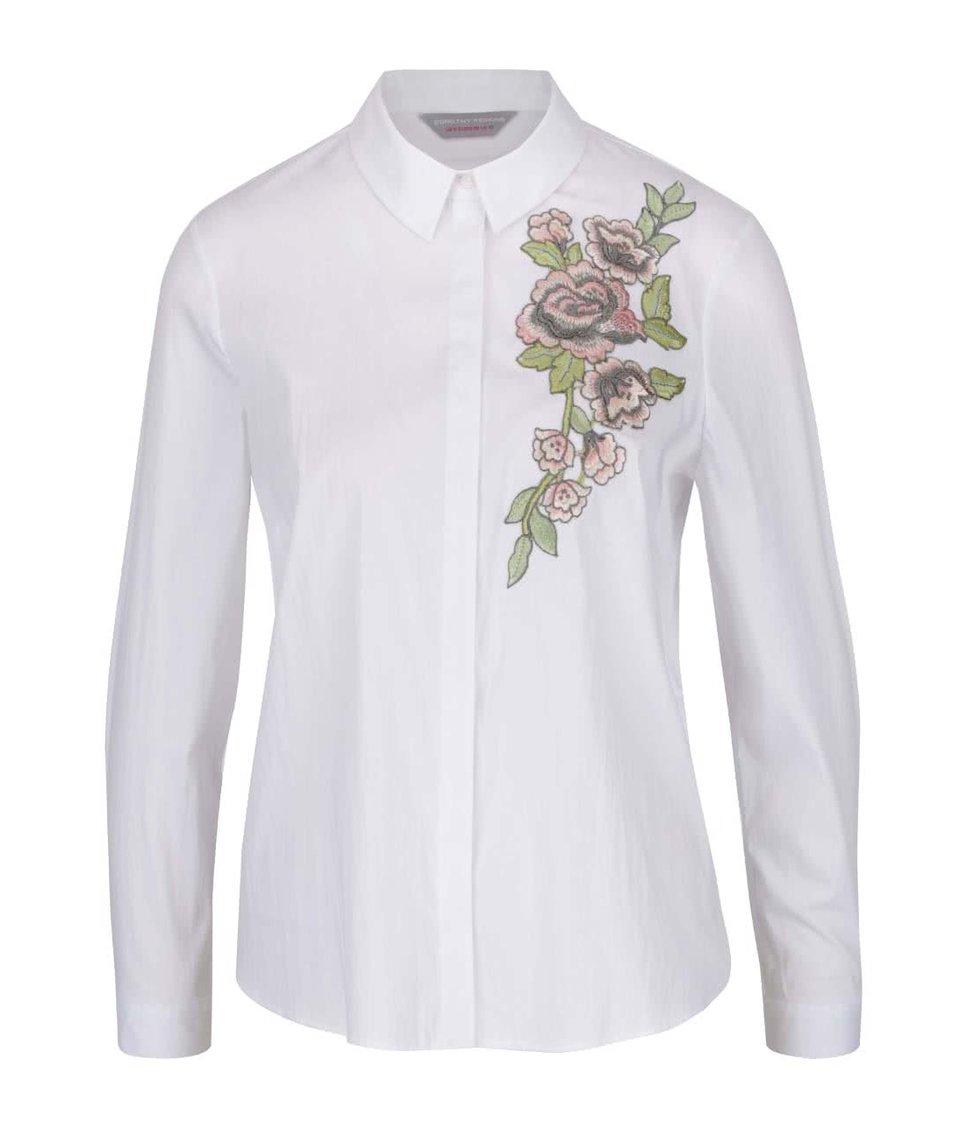 Bílá košile s výšivkou květiny Dorothy Perkins Petite