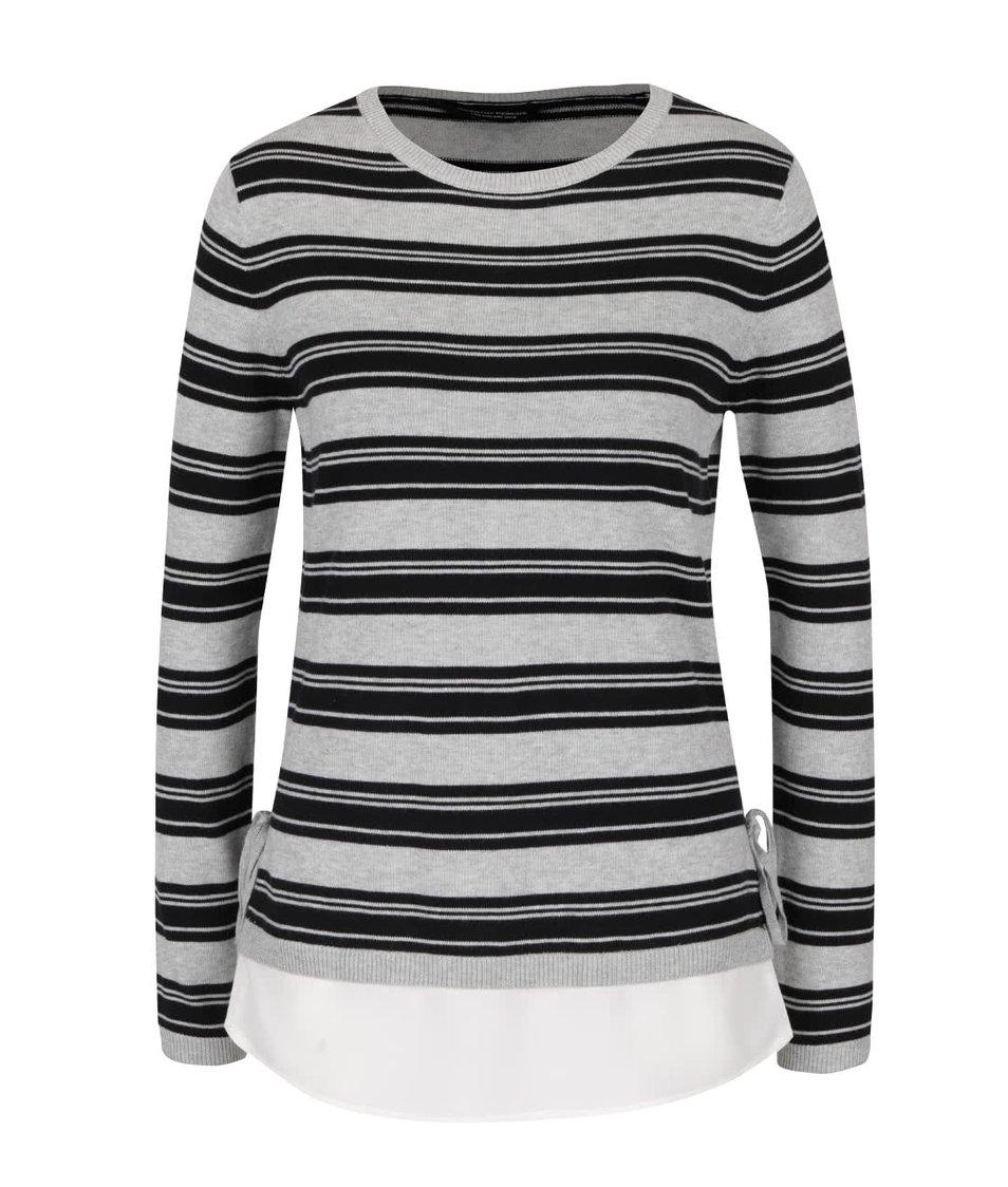 Černo-šedý pruhovaný svetr s detaily Dorothy Perkins