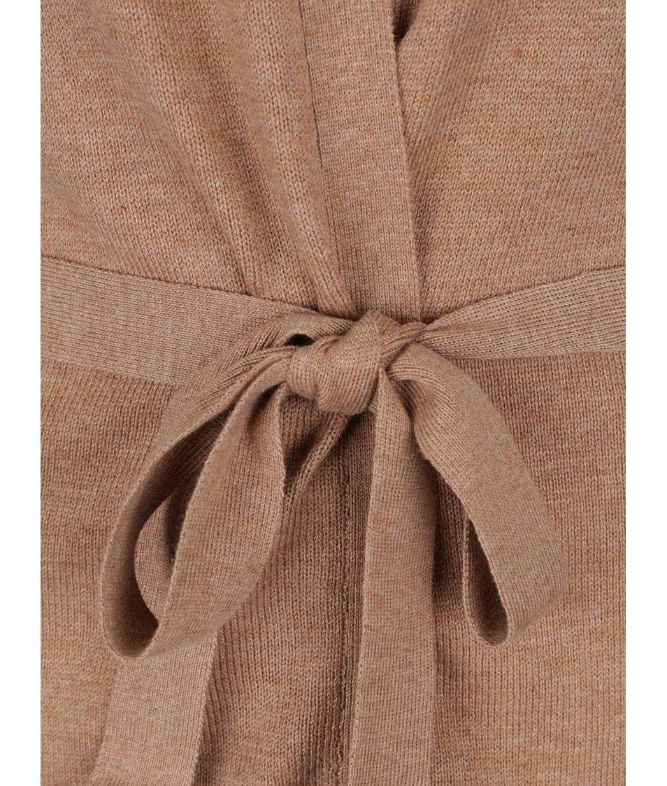 Hnědý cardigan se zavazováním Dorothy Perkins tall