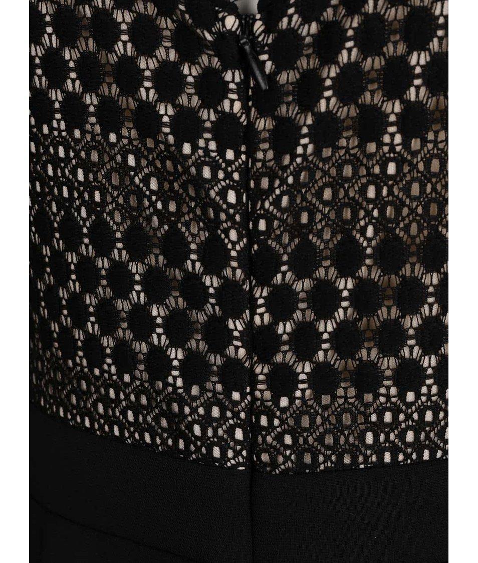 Černý overal s krajkovanými detaily Dorothy Perkins