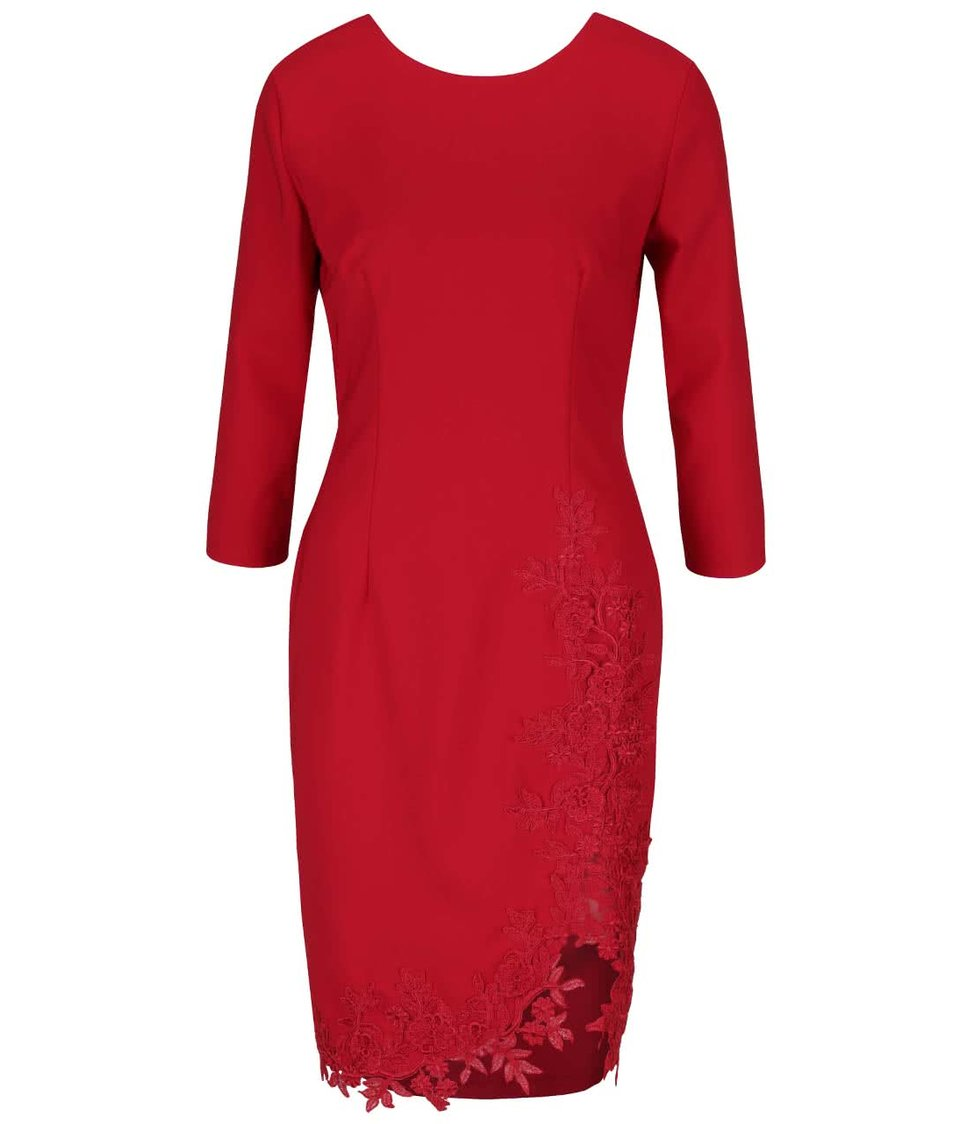 Červené šaty s květinovými detaily a 3/4 rukávy Little Mistress