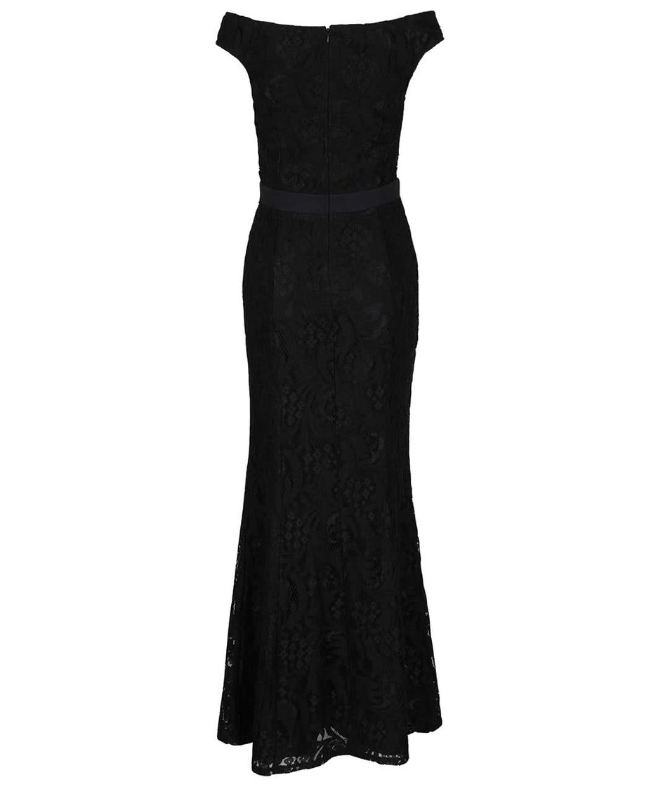 Černé dlouhé krajkované šaty s tvarovaným výstřihem Little Mistress