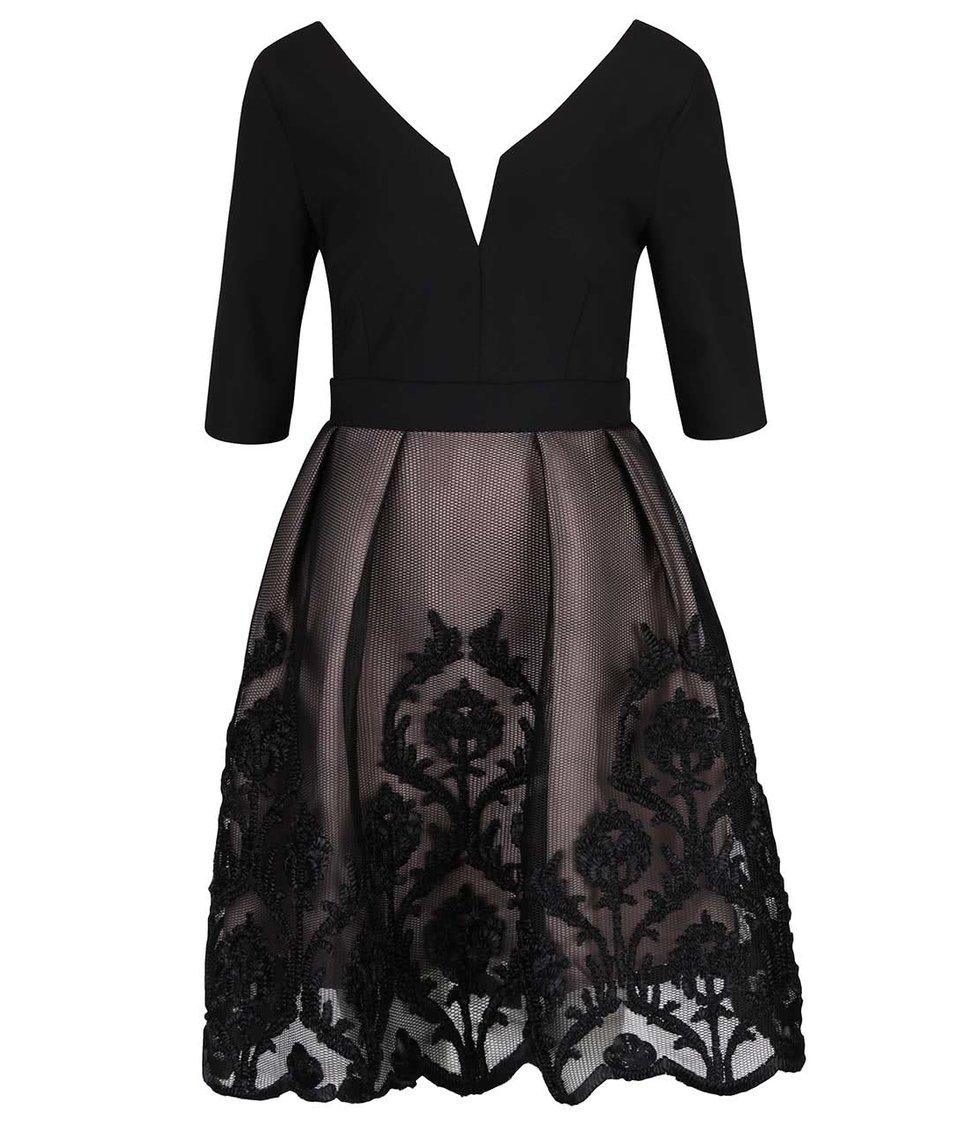 Růžovo-černé šaty s krajkovanou sukní a tvarovaným výstřihem Little Mistress