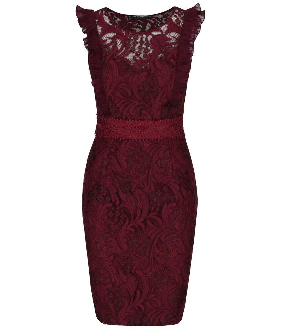 Vínové krajkované šaty s volánky Little Mistress