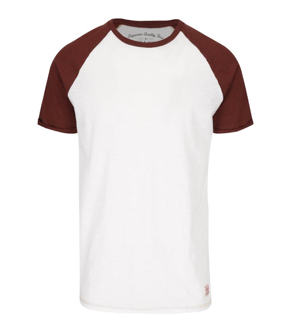 Krémové triko s hnědými rukávy Jack & Jones Fu Sean