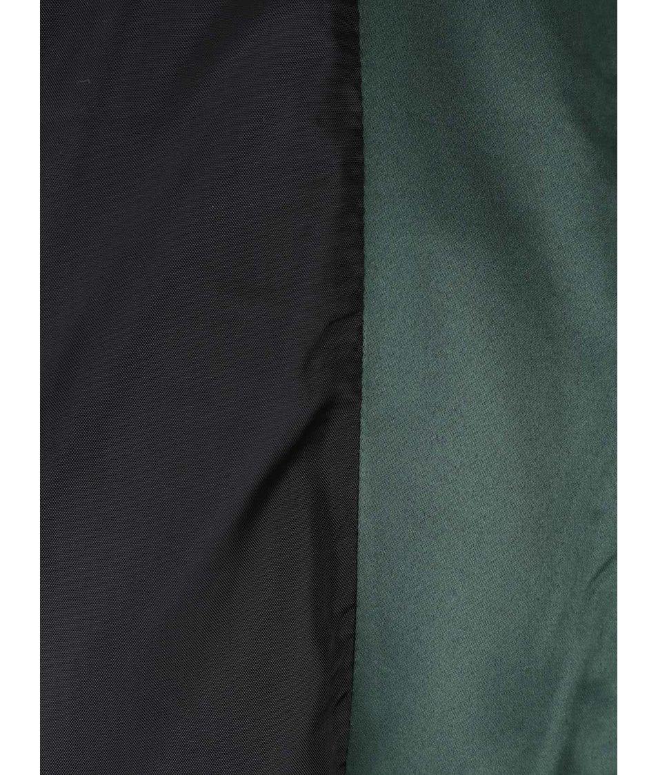 Tmavě zelený prošívaný bomber se zipy ve zlaté barvě Dorothy Perkins