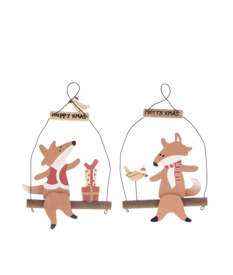 Sada dvou vánočních ozdob s liškou CGB
