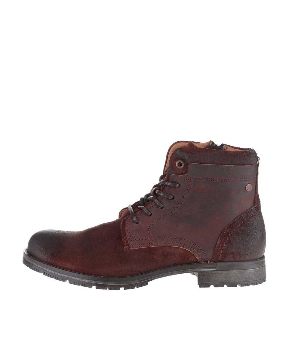 Hnědé kotníkové kožené boty Jack & Jones Hanibal