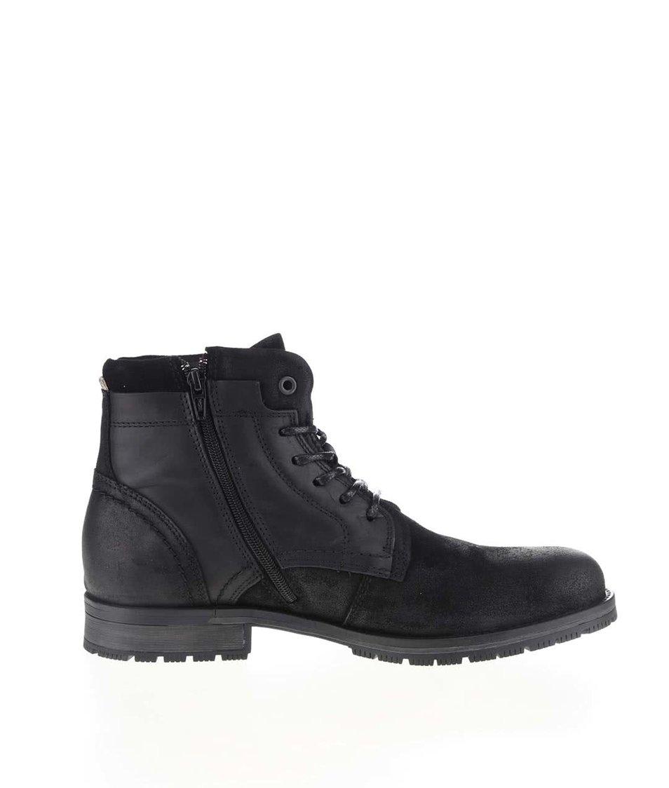 Černé kotníkové kožené boty Jack & Jones Hanibal