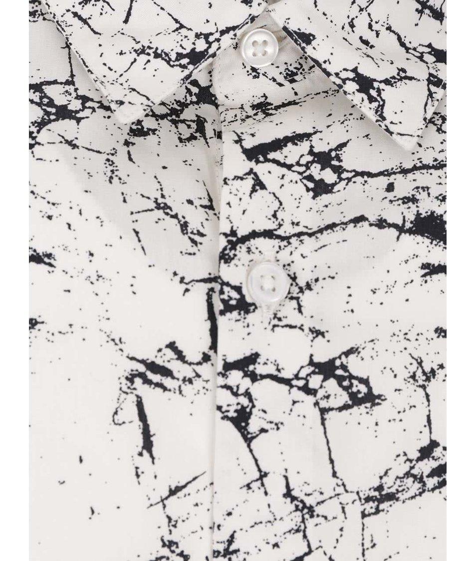 Krémová vzorovaná slim fit košile Jack & Jones Marble