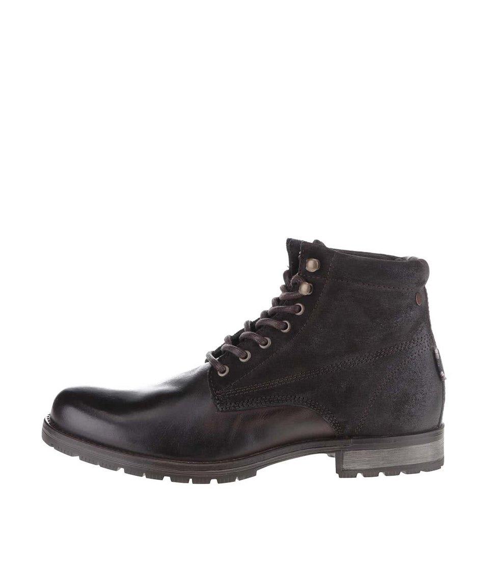 Tmavě hnědé kotníkové boty Jack & Jones West