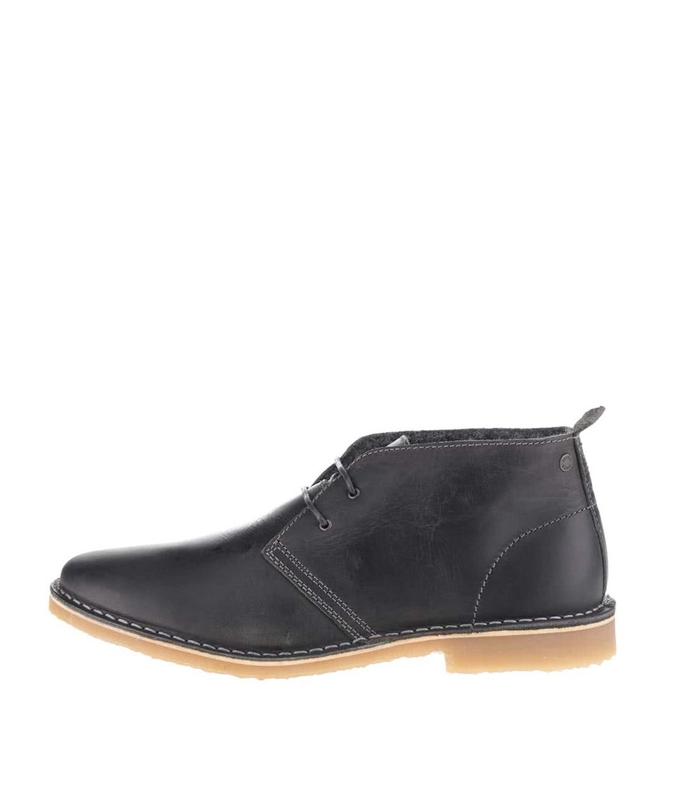 Tmavě šedé kotníkové kožené boty Jack & Jones Gobi