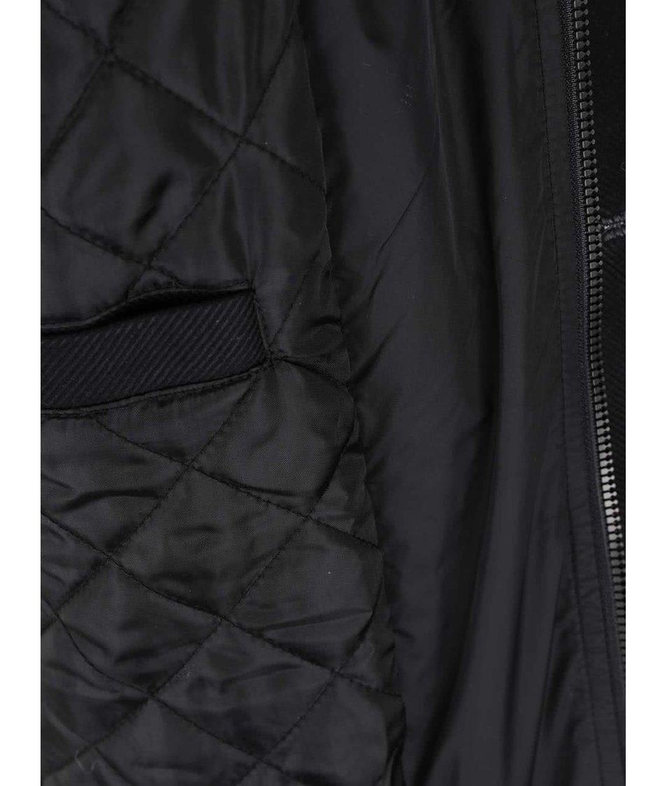 Tmavě šedý žíhaný vlněný kabát Jack & Jones Joe