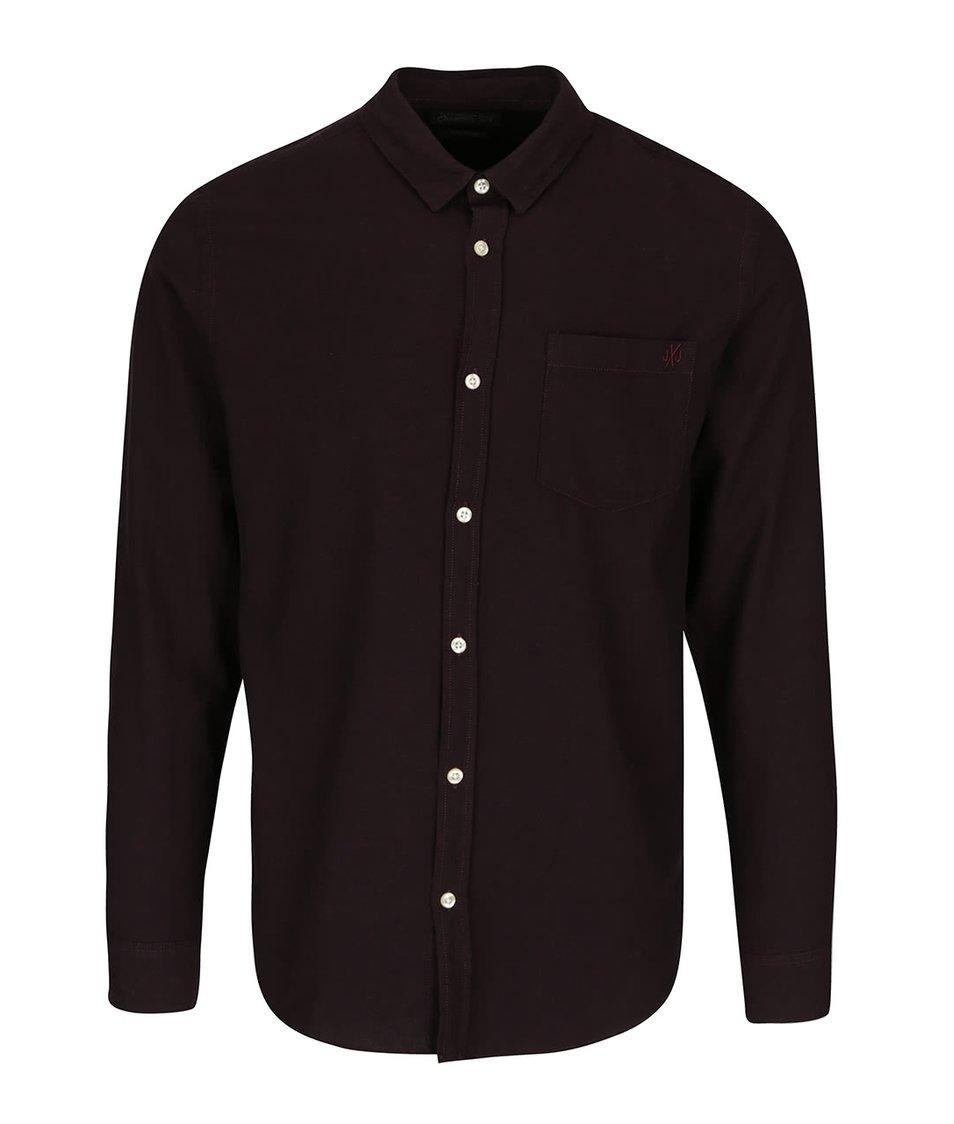 Tmavě vínová slim košile Jack & Jones Glit