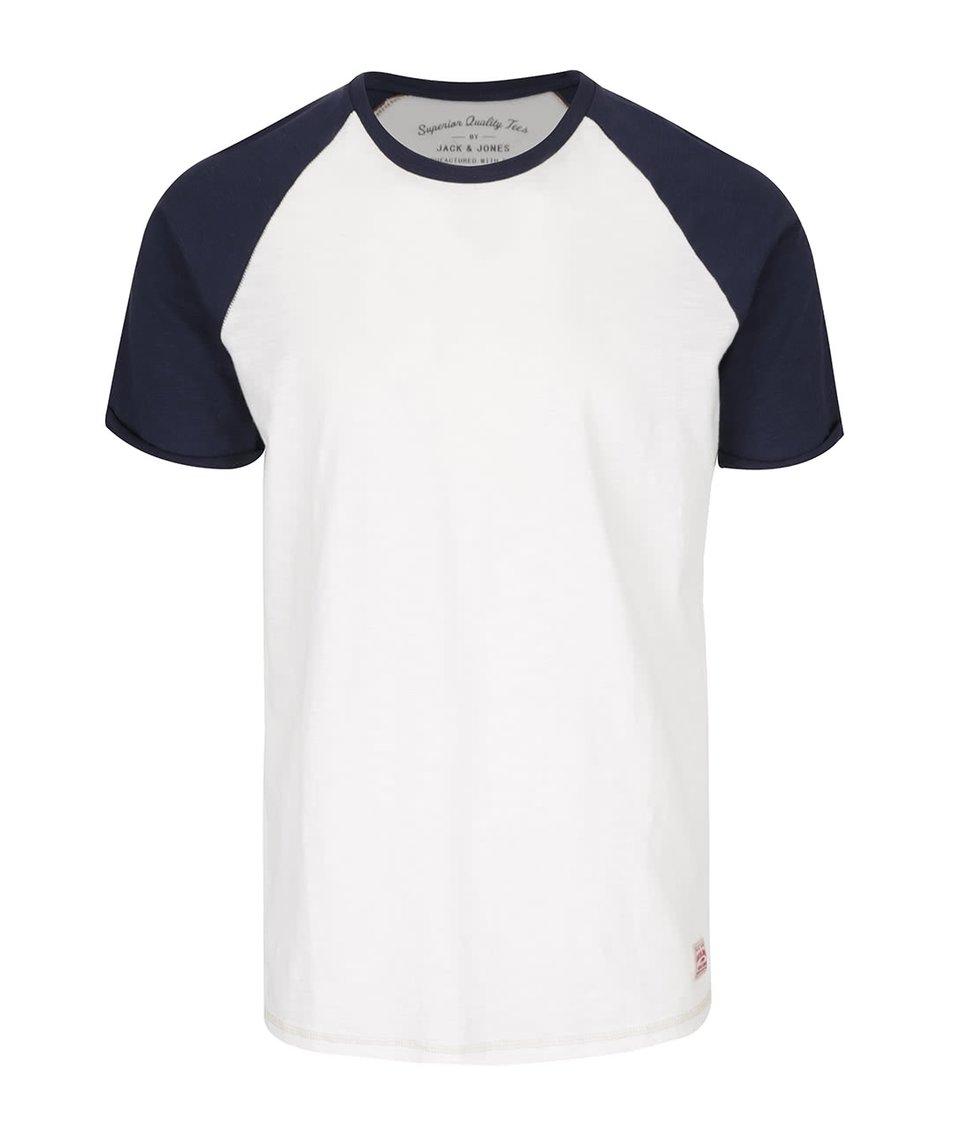 Krémové triko s modrými rukávy Jack & Jones Fu Sean
