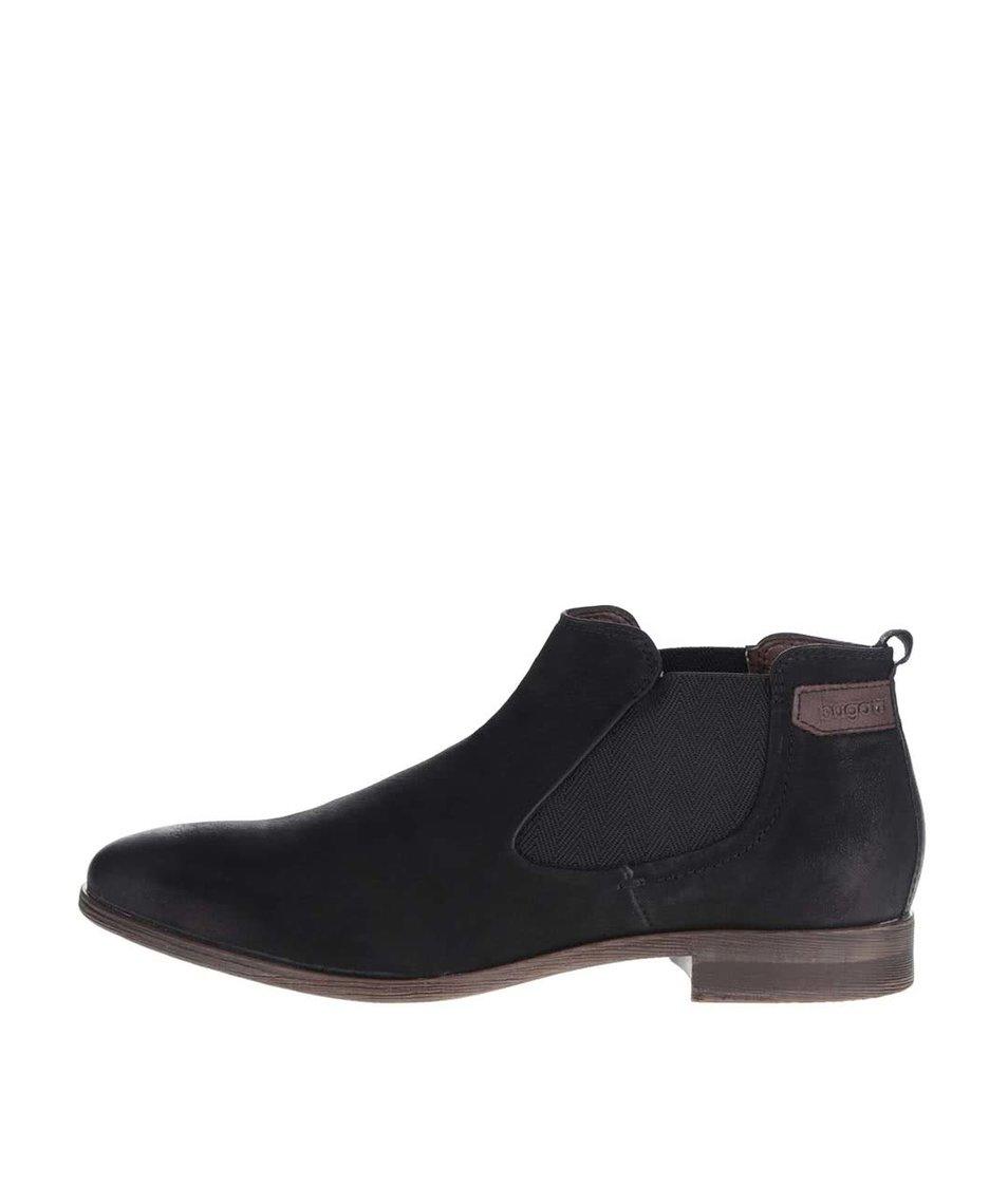 Černé pánské kožené kotníkové boty s gumovou vsadkou bugatti Lothario