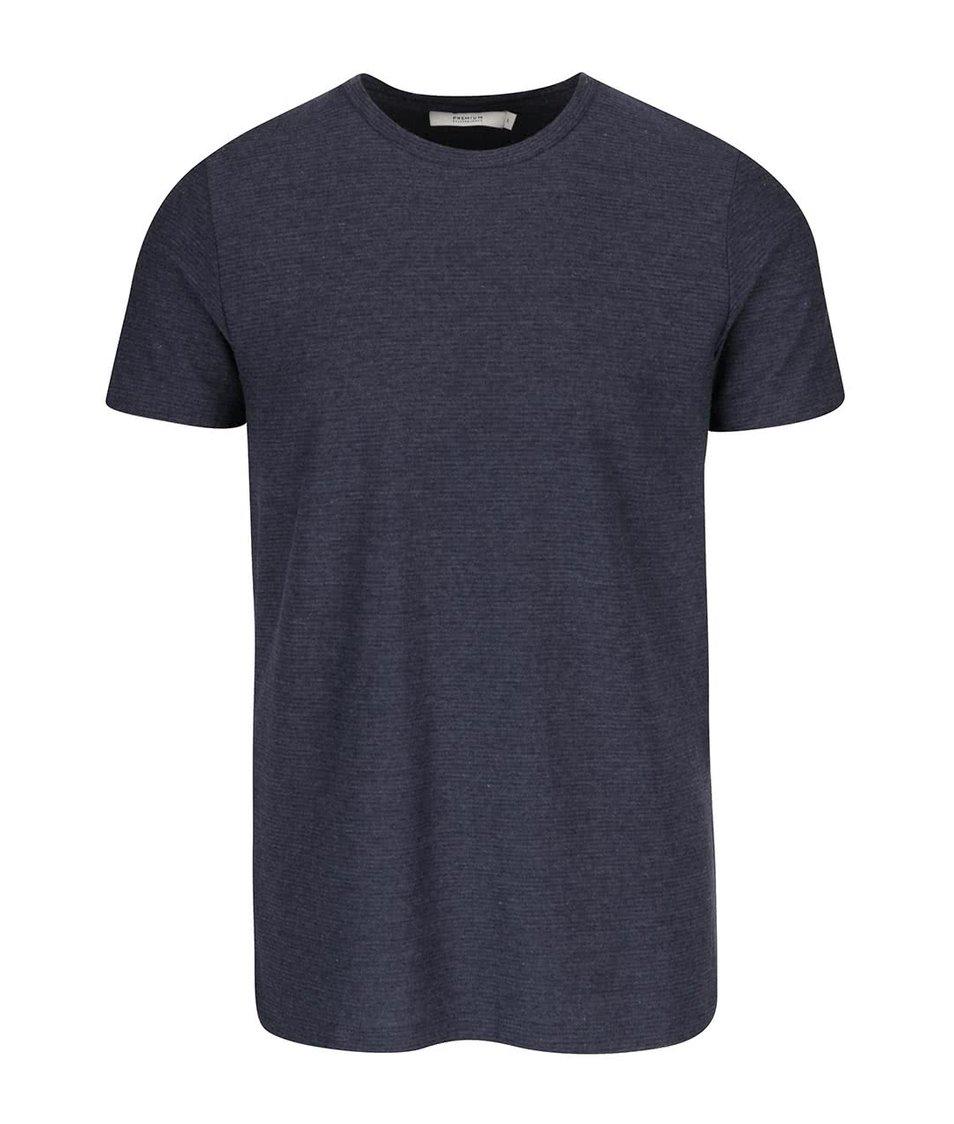 Tmavě modré žebrované triko Jack & Jones Wellington