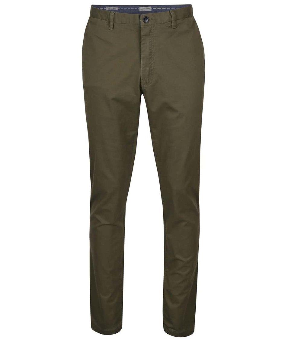 Olivově zelené chino kalhoty Jack & Jones Marco