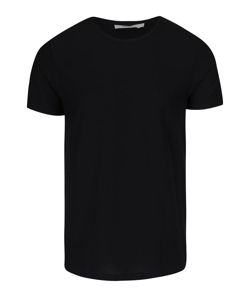 Černé žebrované triko Jack & Jones Wellington