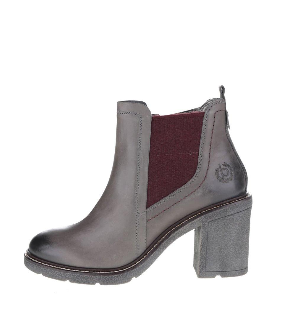 Šedé dámské kožené kotníkové boty na podpatku bugatti Adina