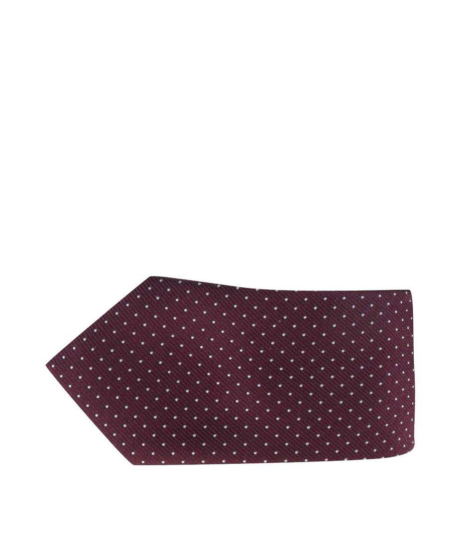 Vínová hedvábná kravata se vzorem Jack & Jones