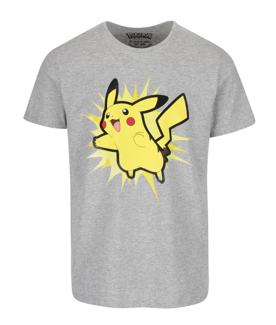 Světle šedé triko s potiskem Jack & Jones Pokemon