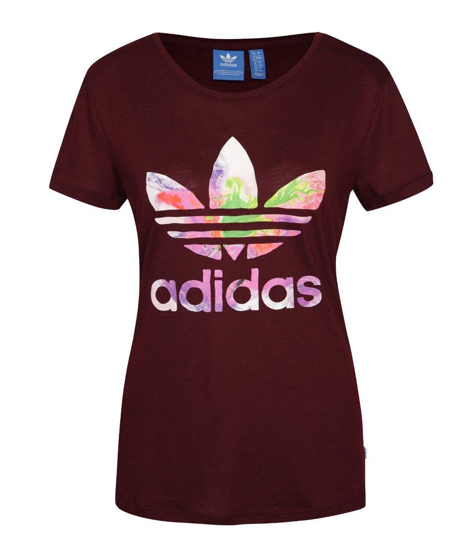 Vínové dámské tričko s barevným logem adidas Originals