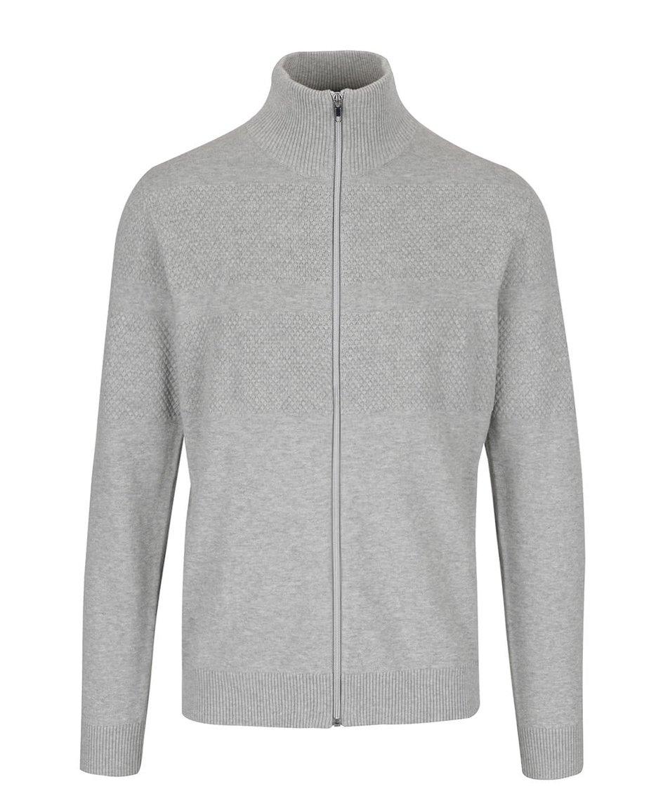 Světle šedý svetr na zip Jack & Jones Arto