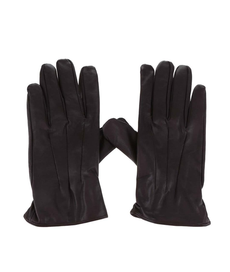 Hnědé kožené rukavice Jack & Jones Max