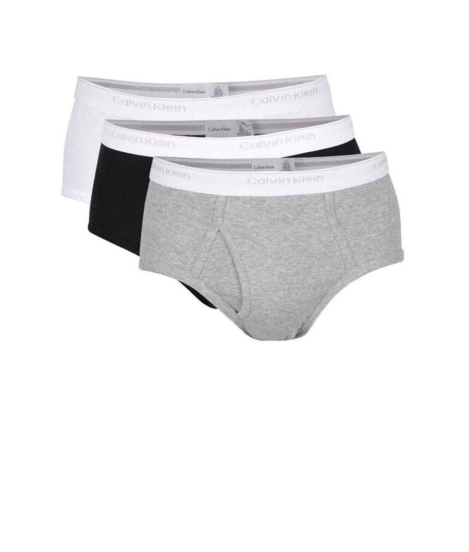 Sada tří slipů v šedé, černé a bílé barvě Calvin Klein