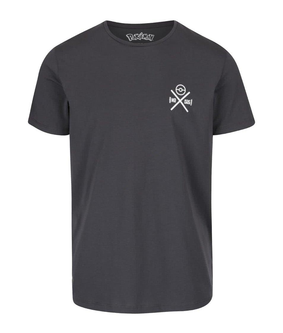 Tmavě šedé triko s potiskem Jack & Jones Pokemon