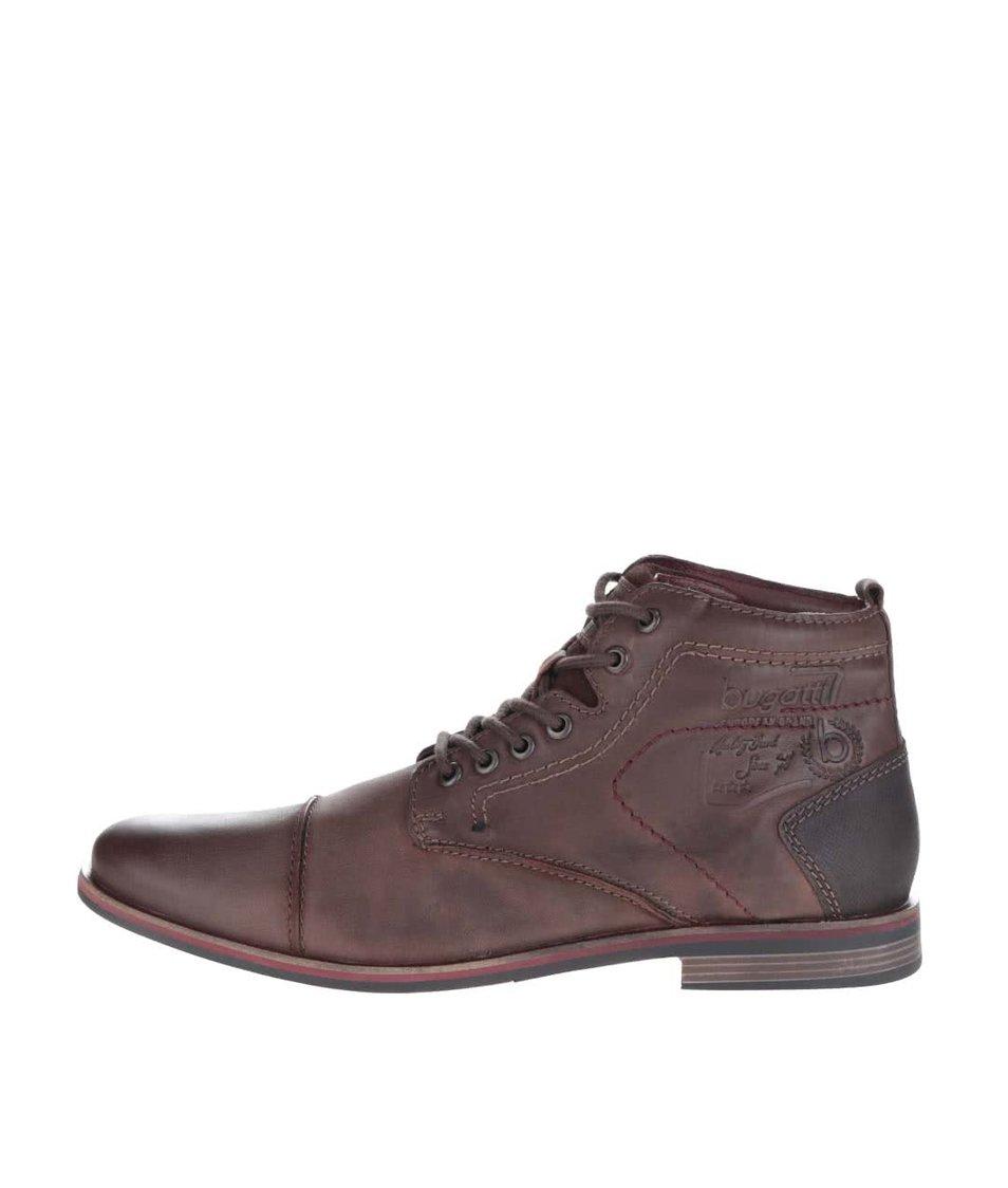 Hnědé pánské kožené šněrovací kotníkové boty bugatti Abramo