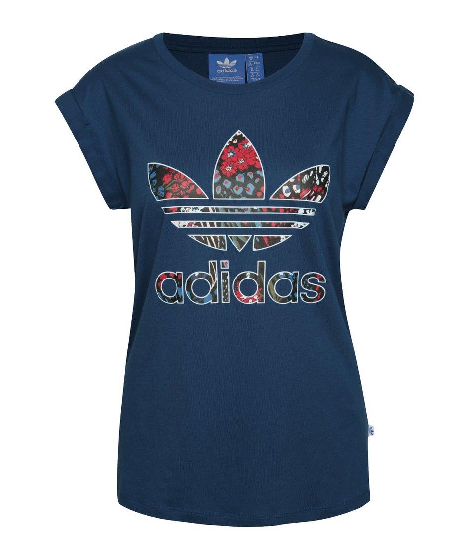 Modré dámské tričko s barevným logem adidas Originals