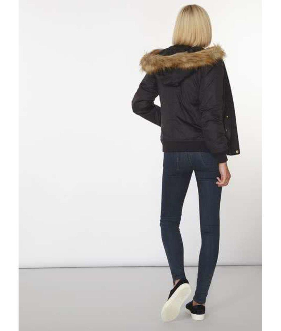Černá bunda s kožíškem Dorothy Perkins