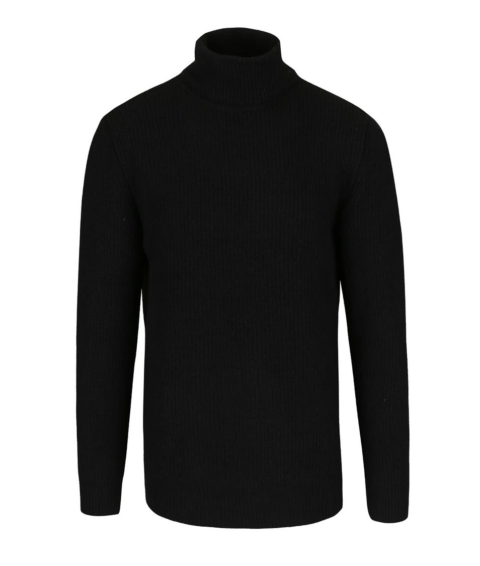 Černý svetr s rolákem Jack & Jones Reno